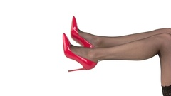Legs in red heels isolated. Stock Footage
