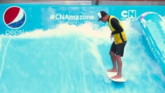 A man falls in the water park with surfboards Stock Footage