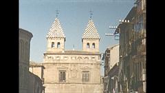 Vintage 16mm film, 1954 Spain, Toledo streets and people Puerta de Bisagra Stock Footage