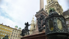Beautiful antique column on Mary's square in Munich, Germany, architecture Stock Footage
