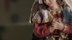Statue of the Virgin Mary from a Nativity Scene Stock Footage