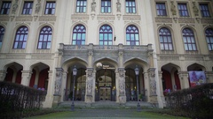 Beautiful facade of Museum Five Continents in Munich, Germany, tourism Stock Footage