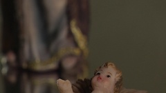 Statue of the Baby Jesus from a Nativity Scene Stock Footage