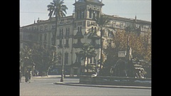 Vintage 16mm film, 1954 Spain Seville city, man and push cart Stock Footage