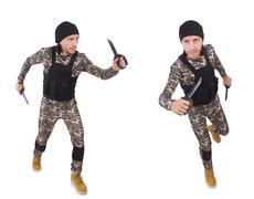 Soldier with knife isolated on white Stock Photos
