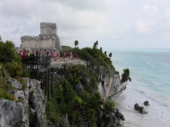 Tulum Mexico Mayan ruins temple ocean cliff DCI 4K Stock Footage