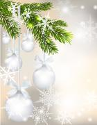Five shiny glossy silver balls with bows and fir branch on beautiful Christ.. Stock Illustration
