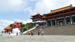 Wenwu Temple exterior with tourists, time lapse Stock Footage