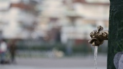 Typical city fountain in Milan, Italy Stock Footage