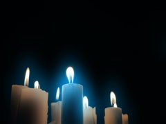 Scary Gothic wax candle light in mystical evil darkness horror background Stock Footage