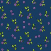 Beautiful seamless pattern with natural fresh blueberries Stock Illustration