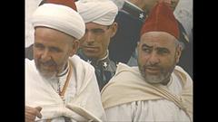 Vintage 16mm film, 1954 Morocco Tetuan streetlife Muslim clerics and people #2 Stock Footage