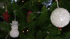 Video of Christmas decorations on the Christmas tree, selective focus Stock Footage