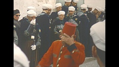 Vintage 16mm film, 1954 Morocco Tetuan streetlife Muslim clerics and people Stock Footage