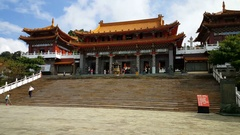 Wenwu Temple exterior with tourists Stock Footage