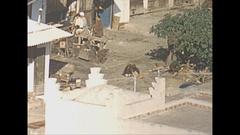 Vintage 16mm film, 1954 Morroco Tangiers streetlife bird eye, telephoto... Stock Footage