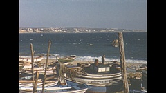 Vintage 16mm film, 1954 Portugal Cascais fishing village beach Stock Footage