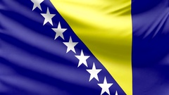 Realistic beautiful Bosnia and Herzegovina flag looping Slow 4k resolution Stock Footage