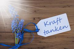 Sunny Srping Grape Hyacinth, Label, Kraft Tanken Means Relax Stock Photos