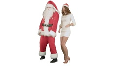 Christmas girl with santa claus dance on white background Stock Footage