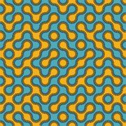 Vector Seamless Blue and Yellow Rounded Circle Maze Dashed Line Truchet Pattern Stock Illustration