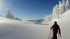 Wintertime Ski Touring (Drone) Stock Footage