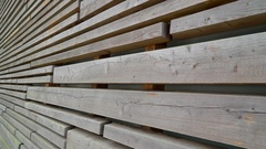 A big house with the wall made in wood planks in Ireland Stock Footage