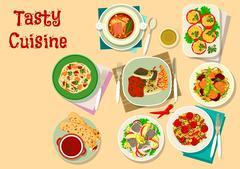 Tasty lunch menu icon for restaurant design Stock Illustration