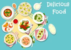 Italian and french cuisine lunch dishes icon Stock Illustration