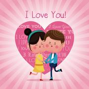 Couple loving jumping cheerful pink heart background Stock Illustration