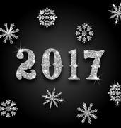 Silver Magic Background for Happy New Year 2017 Stock Illustration