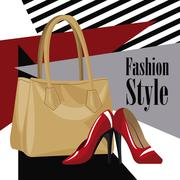 Fashion style accessory wo purse red heel Stock Illustration