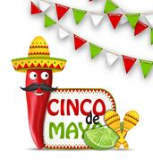 Holiday Celebration Background for Cinco De Mayo Stock Illustration