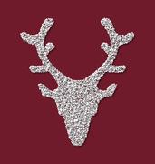 Symbol Xmas Deer head red backdrop made from white hoarfrost Stock Illustration
