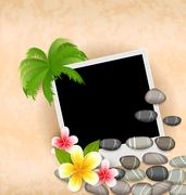 Exotic natural background with empty photo frame, palm tree, flowers frangi.. Stock Illustration