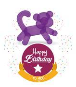 Cute balloon cat happy birthday confetti ribbon Stock Illustration