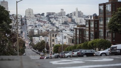 Time Lapse of Sunset on San Francisco Union Street / Busy Traffic / Hill Stock Footage