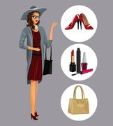 Elegant wo with various accessories makeup shoes Stock Illustration