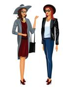 Two women elegance beautiful fashionable Stock Illustration