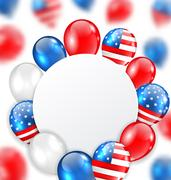 Celebration Clean Card with Balloons in American National Colors Stock Illustration