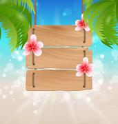 Hanging wooden guidepost with exotic flowers frangipani and palmtrees Stock Illustration