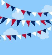 Flags USA Set Bunting Red White Blue for Celebration Stock Illustration