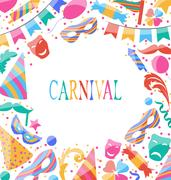 Celebration Carnival card with party colorful icons and objects Piirros
