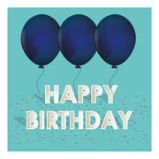 Happy birthday blue balloons tiny confetti Piirros