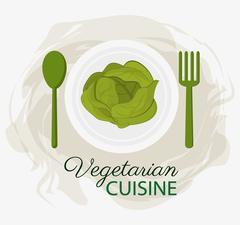 Lettuce vegetarian cuisine organic food plate and spoon fork Stock Illustration