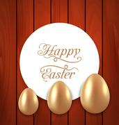 Celebration card with Easter golden eggs on wooden red background Stock Illustration