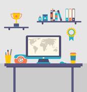Flat design of office workspace creative worker Stock Illustration