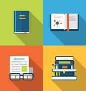 Flat icons design of handbooks, books and publish documents, long shadow styl Stock Illustration