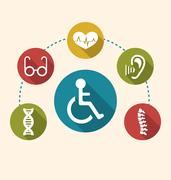 Flat Colorful Icons Disabled with Limited Opportunities and Birth Defects Stock Illustration