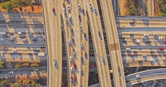 Vertical aerial top down hyperlapse shot flying over heavy traffic Stock Footage